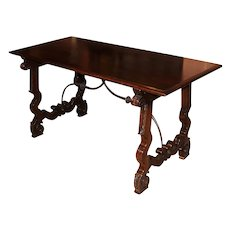 Early 20th c Spanish Style Mahogany Library Table