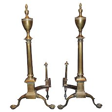Early 20th c Chippendale style Brass Andirons with Flame & Urn Finials