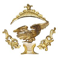 19th c Carved Eagle with Gilt Gold Elements