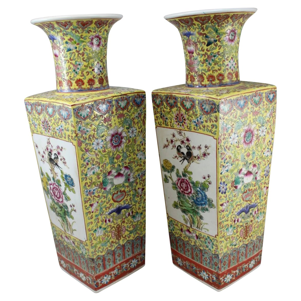 Pair of chinese porcelain vases peonies and peacocks yung cheng click to expand floridaeventfo Choice Image