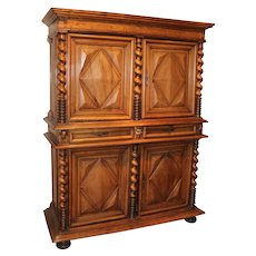 17th c French Louis XIV Baroque Flame Walnut Two Part Cupboard