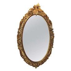 Monumental 19th C Rococo Oval Mirror