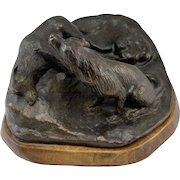 "Barbara Faucher Signed Bronze Sculpture Wolves and Pups ""Dilemma"" NH"