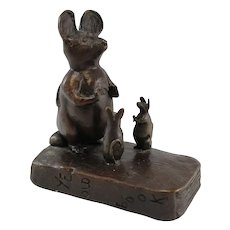 "Barbara Faucher Signed Bronze of Three Mice ""Ye Old Book"" NH"