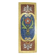 19th c Mosaic Plaque with Floral Decoration Mounted on Zinc