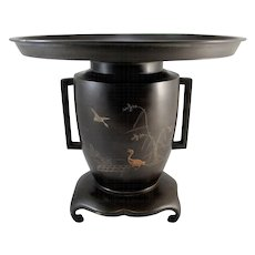 Meiji period Japanese Mixed Metal Bronze Usubata Vase