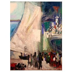 Byron Browne Modernist Abstract Oil Painting The Sail 1952