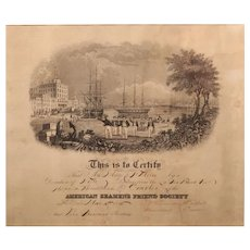 1845 Print for American Seamen's Friend Society, Mary Moore, Milford NH