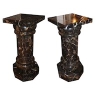 Pair of Black Marble Pedestals or Columns with Octagonal Bases