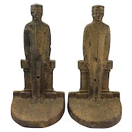 Pair of 19th c Iron Bookends Civil War Soldiers