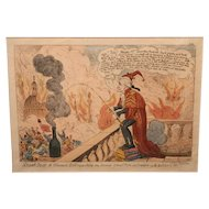 Early 19th c English Fire Theme Print Smoak Jack The Alarmist