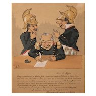 19th c Watercolor Caricature of Fire Chief & Two Firemen Relaxing