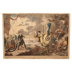19th c English Hand Colored Lithograph Fire Theme A Patriot Luminary