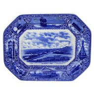 19th c English Flow Blue Transferware Historical Platter Plymouth MA