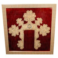 17th c Framed European Textile Embroidered Collar