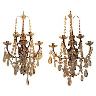 Pair of Large Crystal & Bronze Wall Sconces