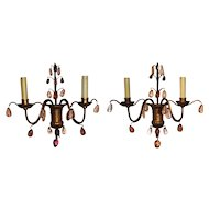 Pair of 19th c Continental Gilt Two Light Sconces with Amethyst Drops