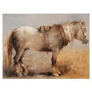 K.B. Hodkinson Hand Painted Limoges Plaque Percheron Draft Horse