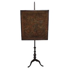 18th c Dutch / American Mahogany Needlework Fire or Pole Screen