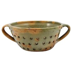 19th c Redware Double Handled Colander in Rare Form