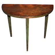 18th / 19th c Northern NH or VT Diminutive Demilune Top Table in Green Paint