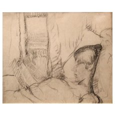 Leon Kroll Charcoal Drawing of a Reclined Woman Reading