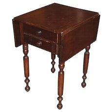 19th c Mahogany Two Drawer Drop Leaf Work Table