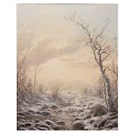 Erik Koeppel White Mountain Oil Painting Winter Morning in Jackson NH