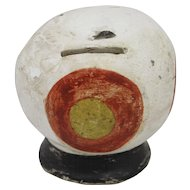 Folk Art Chalkware Apple Bank from the Roger Bacon Collection