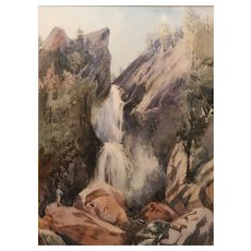 Edmund Clarke Cabot White Mountain Watercolor Glen Ellis Falls NH