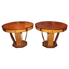 Pair of Mid 20th Century Art Deco Style Center Tables with Exotic Veneers
