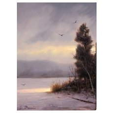 William R. Davis Oil Painting Landscape Winter Storm Break
