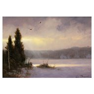William R. Davis Oil Painting Landscape Winter's Light Show