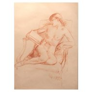 Leon Kroll Charcoal Sketch of a Nude, Estate Stamp