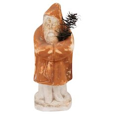 19th c Pennsylvania Chalkware Belsnickle Style Santa Figure