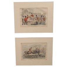 Pair of 19th c Framed Humorous English Hunting Scene Prints by John Leech