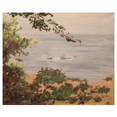 Early 20th c Emma Eilers Oil Painting Coastal Scene Tranquil Waters