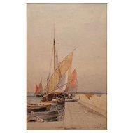 Prosper Louis Senat Watercolor Painting Mediterranean Sailboats At Dock