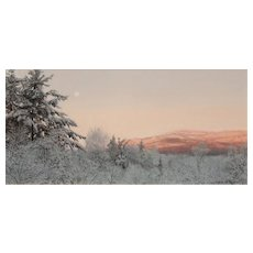 Erick Ingraham Oil Painting NH Landscape Monadnock Early Morning Moonset