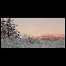 Erick Ingraham Oil Painting NH Landscape Monadnock Early Morning Moonset