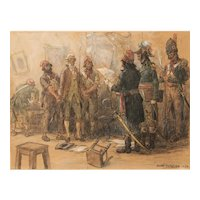 Andre Georges Fournier illustration of Military Soldiers with a Prisoner