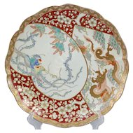 19th c Japanese Imari Charger with Dragon and Phoenix