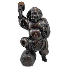 Japanese Bronze Daikoku Figure with Food Basket and Sack
