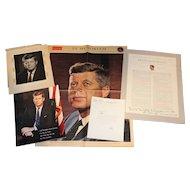 John F Kennedy Presidential Memorabilia Lot Including Senator Abe Ribicoff Letter