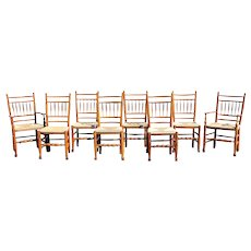 Set of Eight Irish Queen Anne Style Country Chairs in Elmwood
