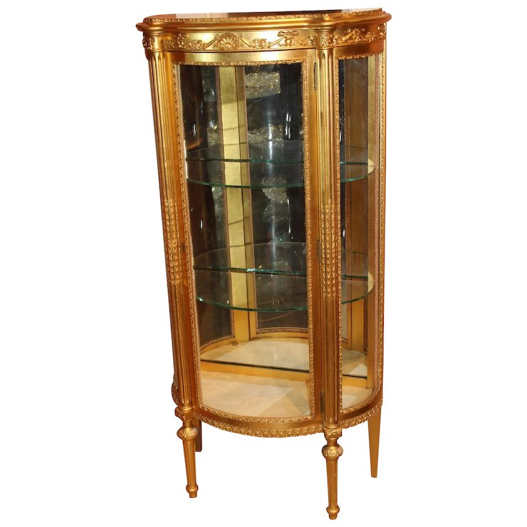 Giltwood French Style Curio Cabinet By Paine Furniture Company, Boston