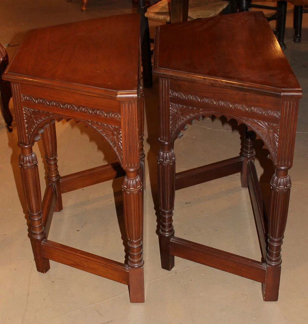Pair of gothic style aesthetic revival console tables in for Table fifty two 52 w elm st chicago il 60610