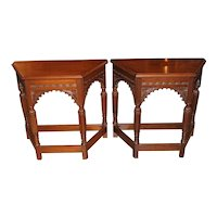 Pair of Gothic Style Aesthetic Revival Console Tables in Mahogany from Munago Co