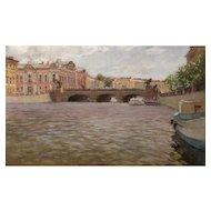 Serguei Oussik Pastel Painting Anichkov Bridge, Fontanka River, St. Petersburg Russia