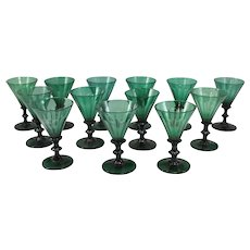 Set of 13 Early 19th c Green Blown Wine Glasses